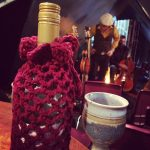 Crocheted wine bottle holder