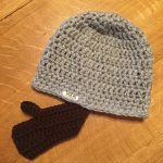 Sideview of beard crochet hat.