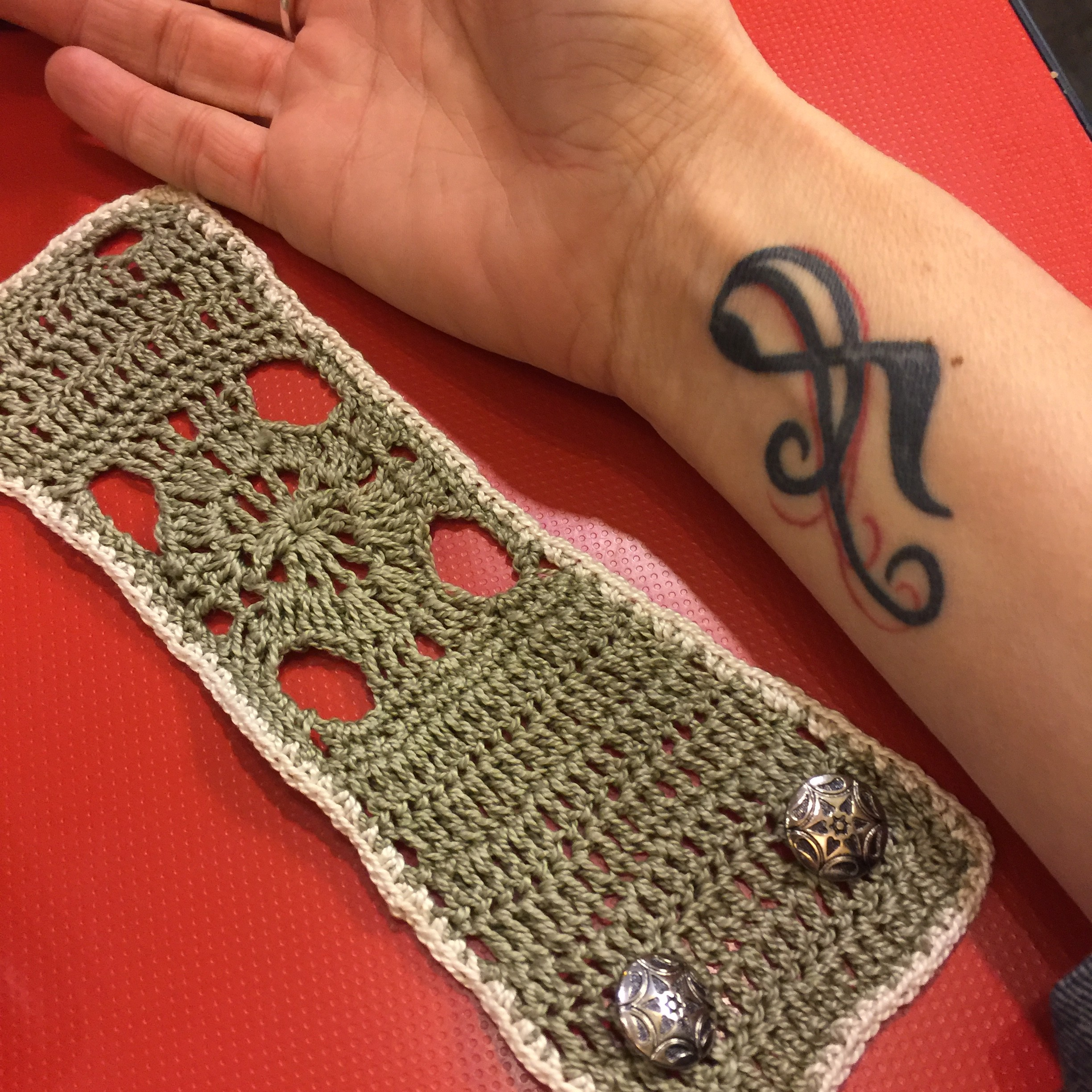 Wrist tattoo cover and crocheted earrings | marni made it