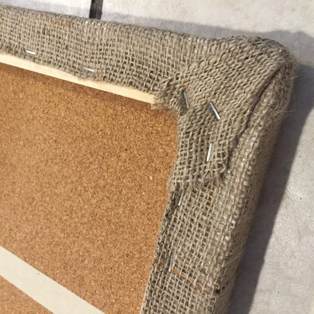 Lay canvases on burlap piece, stretch and staple evenly.