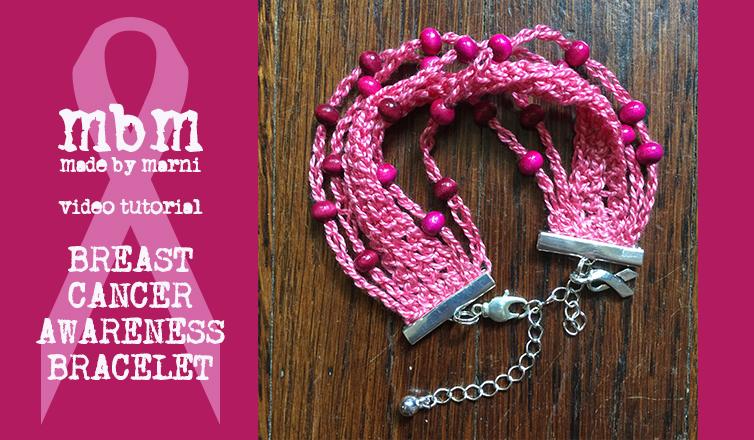 Breast Cancer Awareness Crocheted Bracelet
